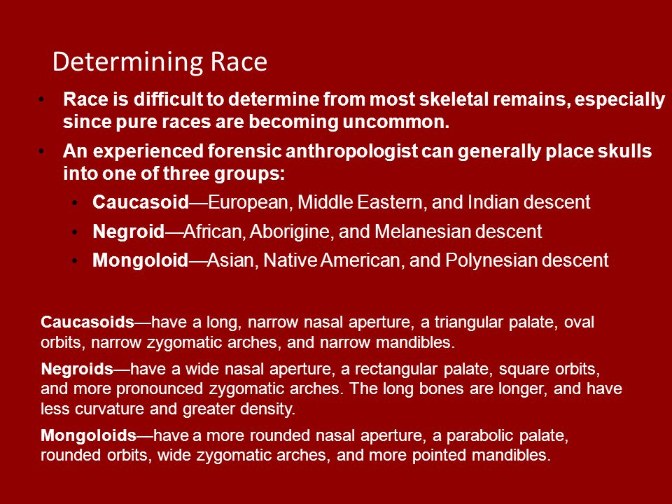 Race Race is difficult to determine from most skeletal remains, especially since pure races are becoming uncommon. An experienced forensic anthropolog