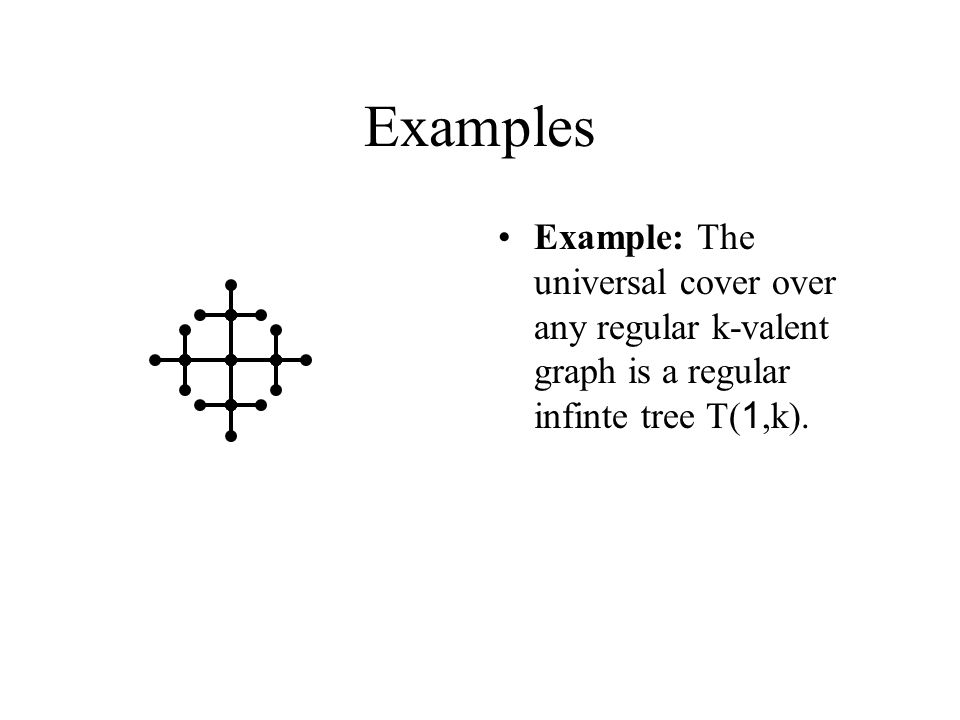 Examples Example: The universal cover over any regular k-valent graph is a regular infinte tree T( 1,k).
