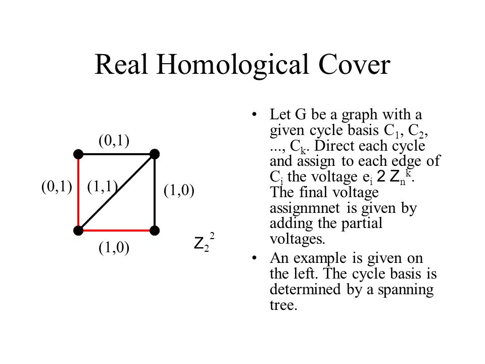 Real Homological Cover Let G be a graph with a given cycle basis C 1, C 2,..., C k.