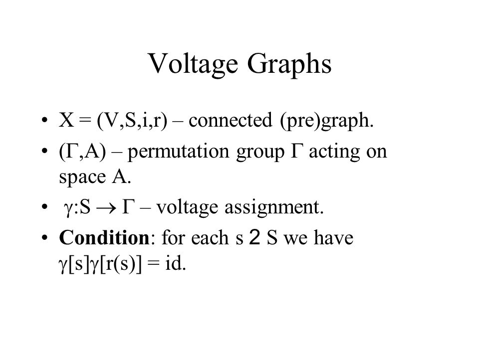 Voltage Graph Determines a Covering Graph Each voltage graph (X, ,A,  ) determines a covering graph Y and the covering projection f: Y  X as follows: Covering graph Y = (V(Y),S(Y),i,r) V(Y) := V(X) x A S(Y) := S(X) x A i: S(Y)  V(Y): i(s,a) := (i(s),a).