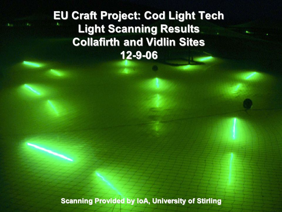 EU Craft Project: Cod Light Tech Light Scanning Results Collafirth and Vidlin Sites 12-9-06 Scanning Provided by IoA, University of Stirling