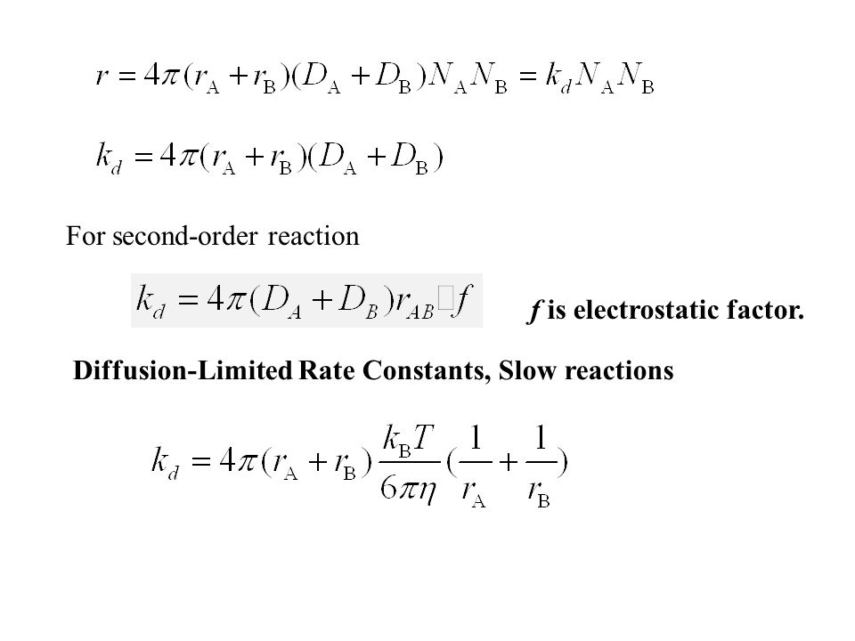 For second-order reaction f is electrostatic factor.