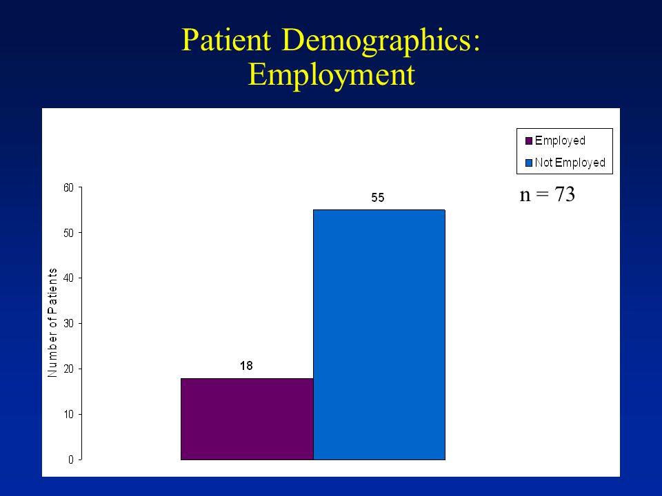 Patient Demographics: Employment n = 73