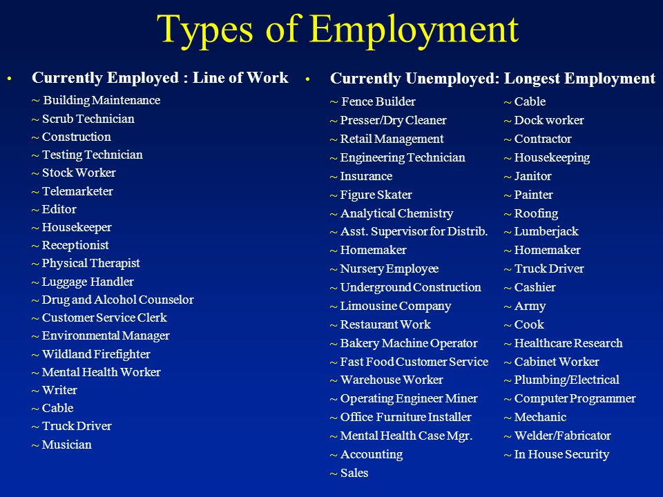 Types of Employment Currently Employed : Line of Work ~ Building Maintenance ~ Scrub Technician ~ Construction ~ Testing Technician ~ Stock Worker ~ Telemarketer ~ Editor ~ Housekeeper ~ Receptionist ~ Physical Therapist ~ Luggage Handler ~ Drug and Alcohol Counselor ~ Customer Service Clerk ~ Environmental Manager ~ Wildland Firefighter ~ Mental Health Worker ~ Writer ~ Cable ~ Truck Driver ~ Musician Currently Unemployed: Longest Employment ~ Fence Builder~ Cable ~ Presser/Dry Cleaner~ Dock worker ~ Retail Management~ Contractor ~ Engineering Technician~ Housekeeping ~ Insurance~ Janitor ~ Figure Skater~ Painter ~ Analytical Chemistry~ Roofing ~ Asst.