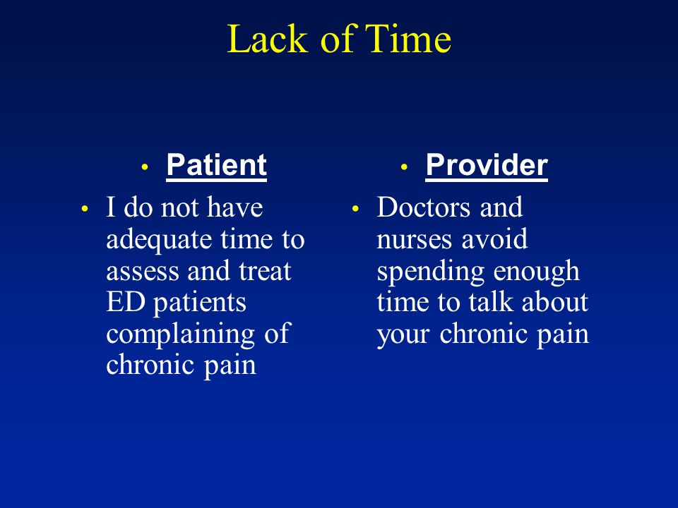 Lack of Time Patient I do not have adequate time to assess and treat ED patients complaining of chronic pain Provider Doctors and nurses avoid spending enough time to talk about your chronic pain