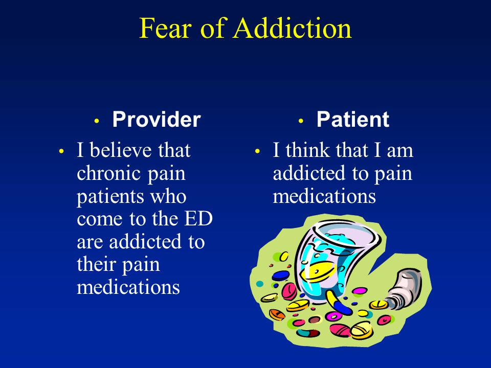 Fear of Addiction Provider I believe that chronic pain patients who come to the ED are addicted to their pain medications Patient I think that I am ad