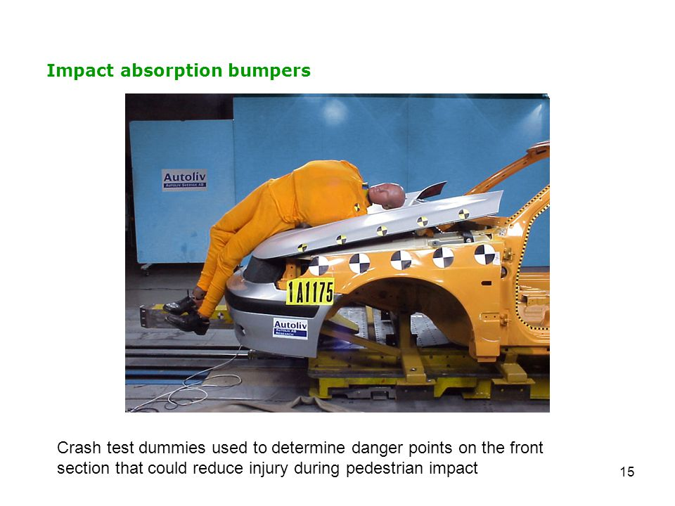 15 Impact absorption bumpers Crash test dummies used to determine danger points on the front section that could reduce injury during pedestrian impact