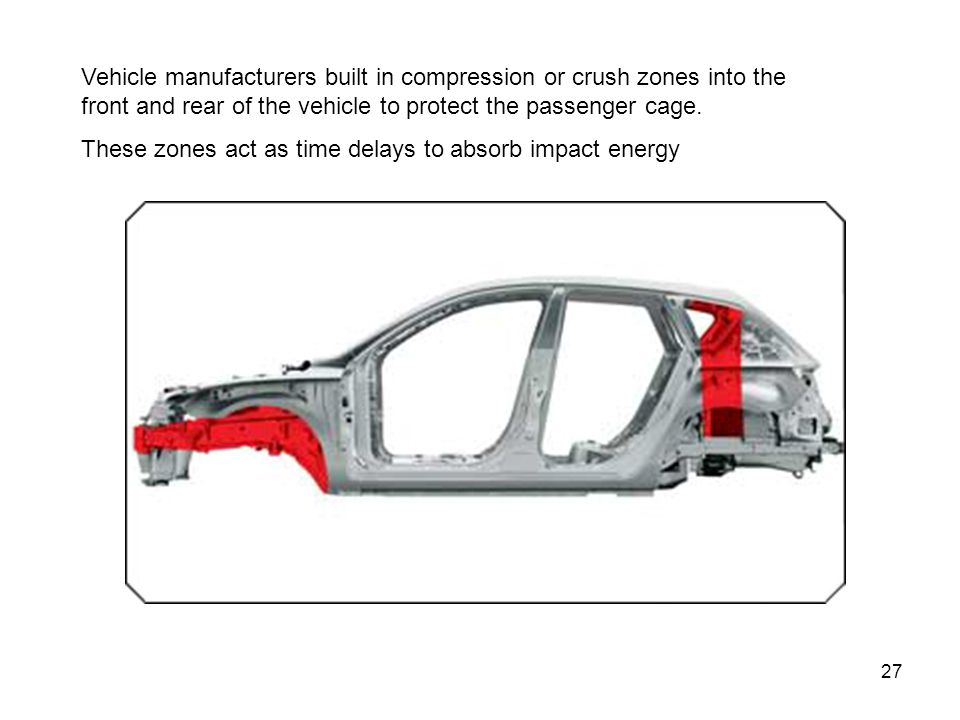 27 Vehicle manufacturers built in compression or crush zones into the front and rear of the vehicle to protect the passenger cage. These zones act as