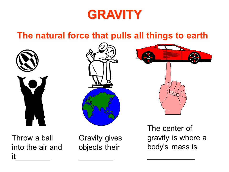GRAVITY The natural force that pulls all things to earth Throw a ball into the air and it________ Gravity gives objects their ________ The center of gravity is where a body's mass is ___________