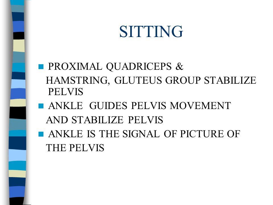 SITTING ALIGNMENT + B.O.S WEIGHT BEARING ON BONES, MUSCLE, LIGAMENTS, SKINS TRUNK MOVES AGAINST PELVIS PELVIS SHOULD BE STABILIZED- MOVES LATERALLY PO