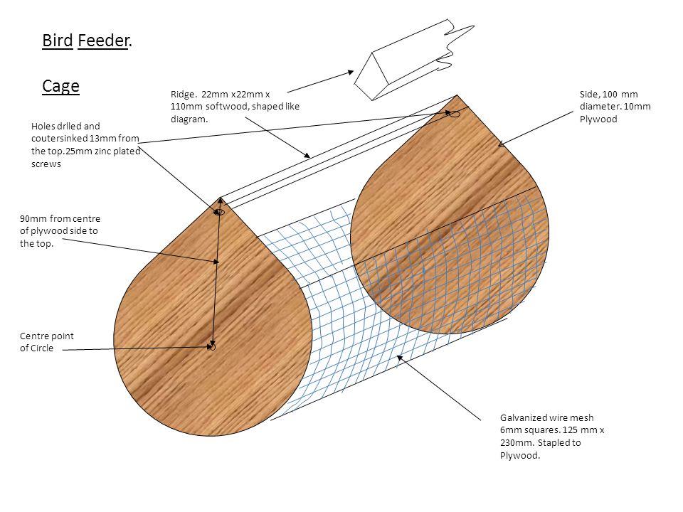 Side, 100 mm diameter. 10mm Plywood Ridge. 22mm x22mm x 110mm softwood, shaped like diagram.