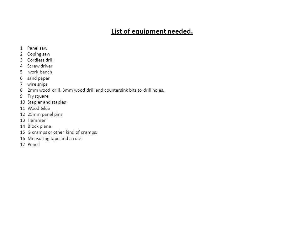 List of equipment needed.