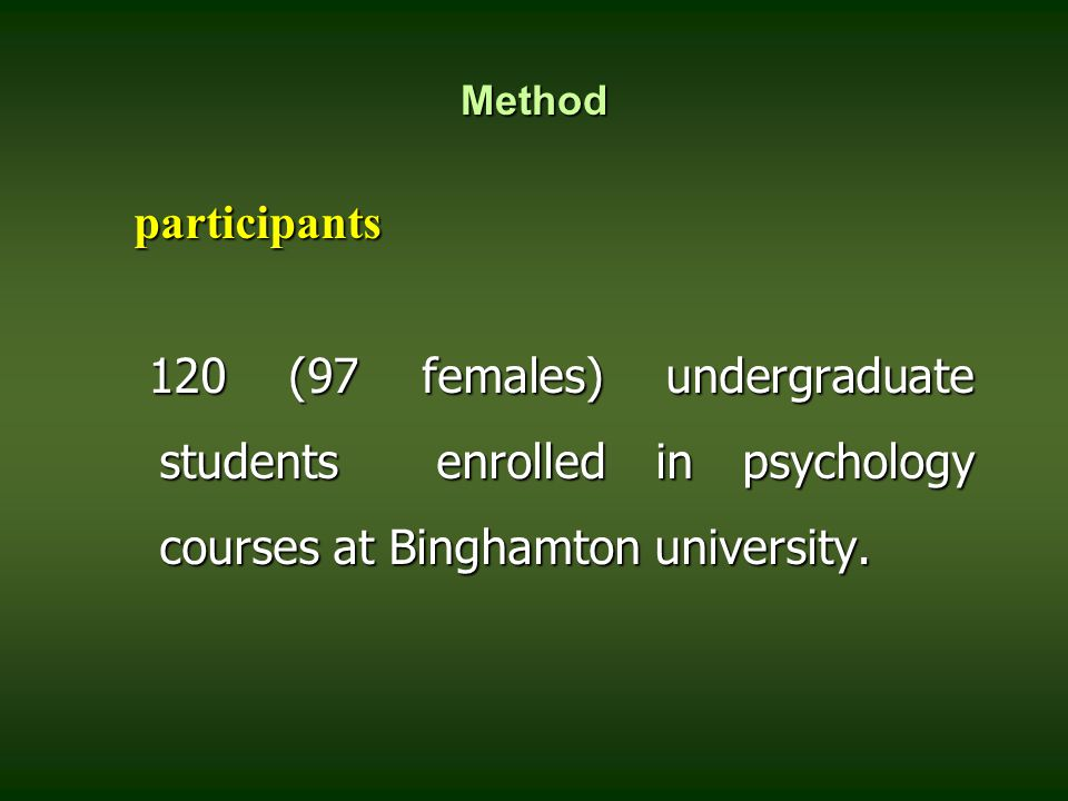Method participants participants 120 (97 females) undergraduate students enrolled in psychology courses at Binghamton university. 120 (97 females) und