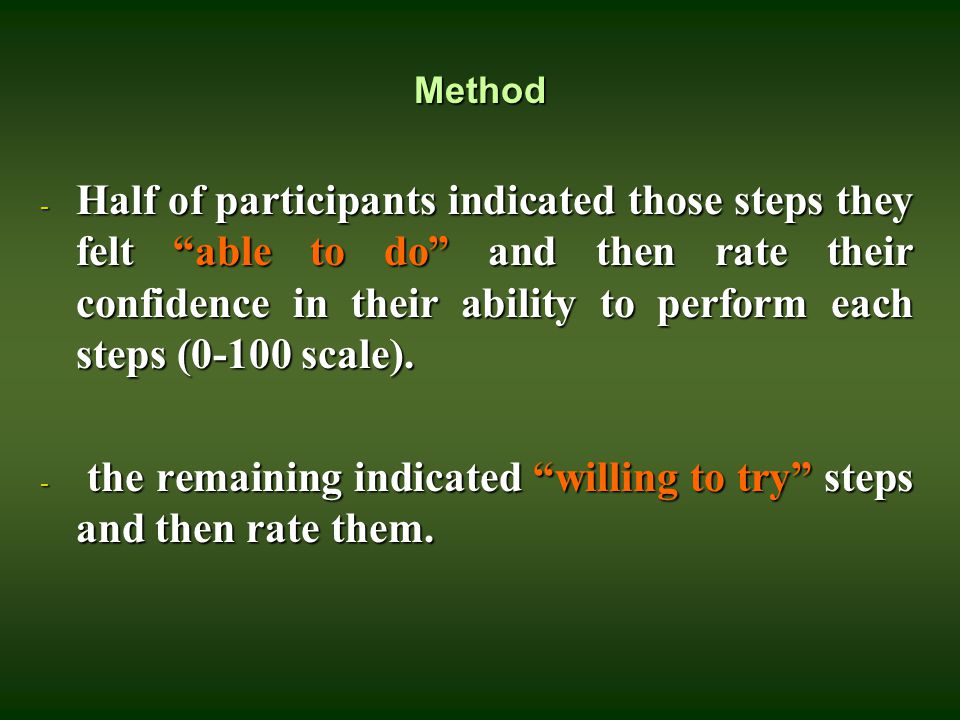 "Method - Half of participants indicated those steps they felt ""able to do"" and then rate their confidence in their ability to perform each steps (0-10"