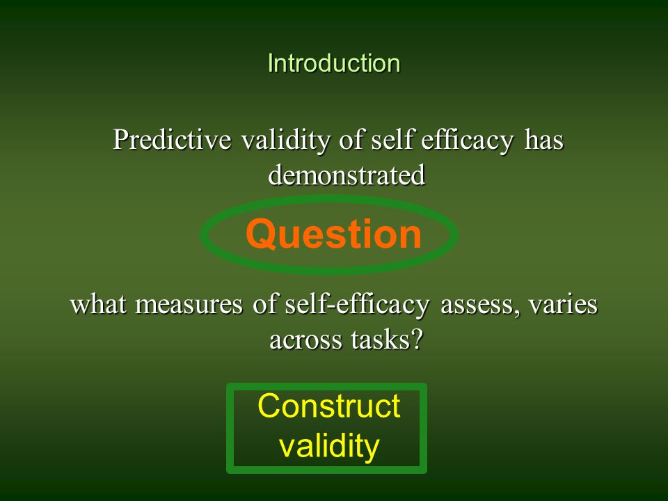 Introduction Predictive validity of self efficacy has demonstrated Predictive validity of self efficacy has demonstrated what measures of self-efficac