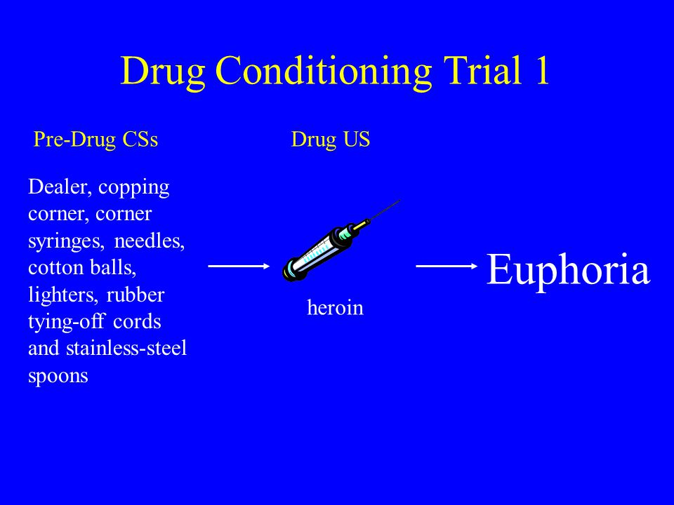 Drug Conditioning Trial 1 Euphoria Dealer, copping corner, corner syringes, needles, cotton balls, lighters, rubber tying-off cords and stainless-steel spoons Pre-Drug CSsDrug US heroin