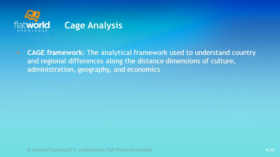 Cage Analysis CAGE framework: The analytical framework used to understand country and regional differences along the distance dimensions of culture, administration, geography, and economics 8-20 © Sanjyot Dunung 2011, published by Flat World Knowledge