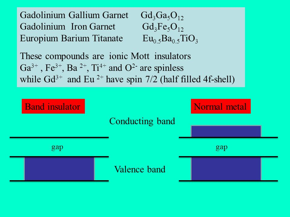 Gadolinium Gallium Garnet Gd 3 Ga 5 O 12 Gadolinium Iron Garnet Gd 3 Fe 5 O 12 Europium Barium Titanate Eu 0.5 Ba 0.5 TiO 3 These compounds are ionic