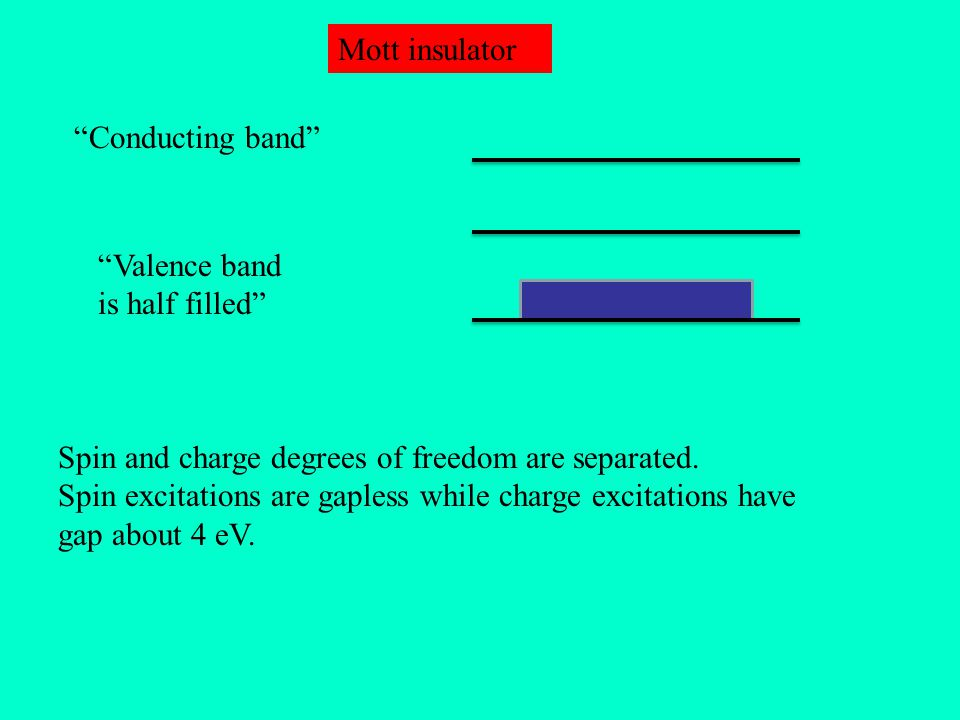 """Conducting band"" ""Valence band is half filled"" Mott insulator Spin and charge degrees of freedom are separated. Spin excitations are gapless while ch"