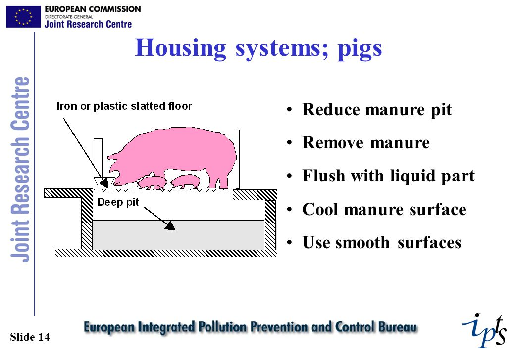 Slide 14 Housing systems; pigs Reduce manure pit Remove manure Flush with liquid part Cool manure surface Use smooth surfaces