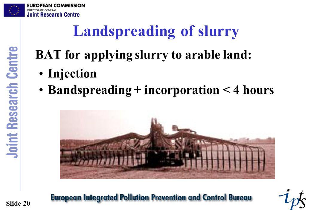 Slide 20 Landspreading of slurry BAT for applying slurry to arable land: Injection Bandspreading + incorporation < 4 hours