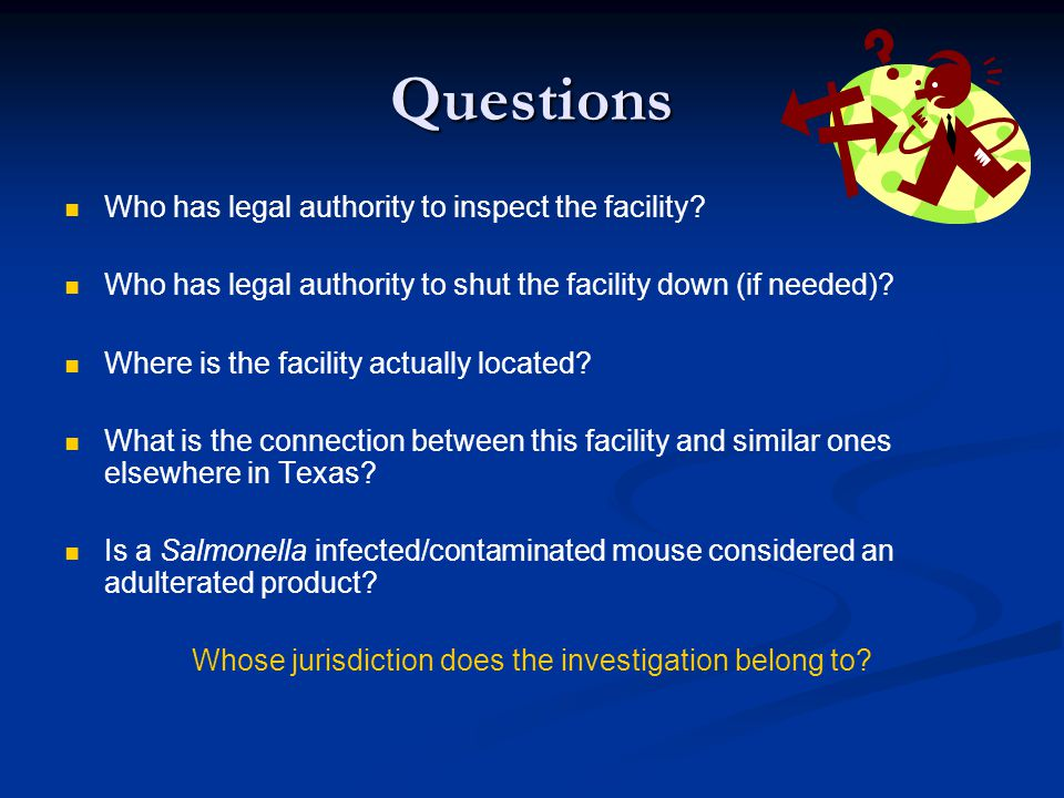 Questions Who has legal authority to inspect the facility.