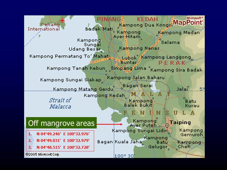 1.N 04°49.246' E 100°32.976' 2.N 04°49.031' E 100°32.979' 3.N 04°48.515' E 100°32.728' Off mangrove areas