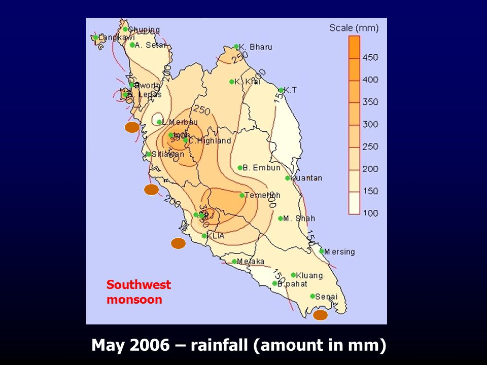 May 2006 – rainfall (amount in mm) Southwest monsoon