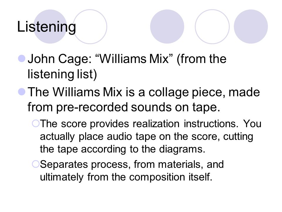 Reading Assignment From Audio Culture: John Cage, The Future of Music: Credo (pp.