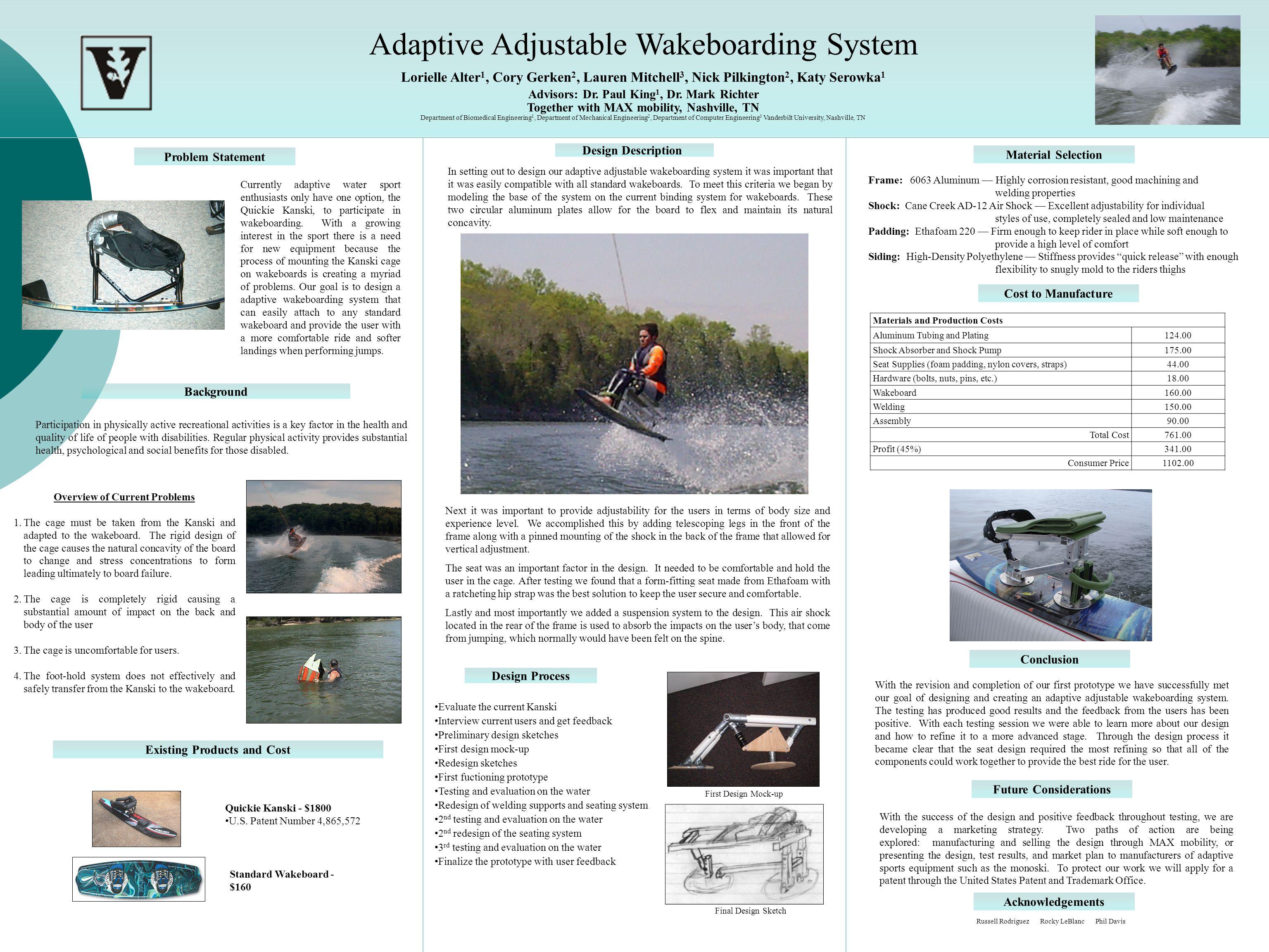 Adaptive Adjustable Wakeboarding System Lorielle Alter 1, Cory Gerken 2, Lauren Mitchell 3, Nick Pilkington 2, Katy Serowka 1 Advisors: Dr.