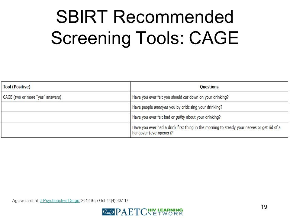 SBIRT Recommended Screening Tools: CAGE Agerwala et al.