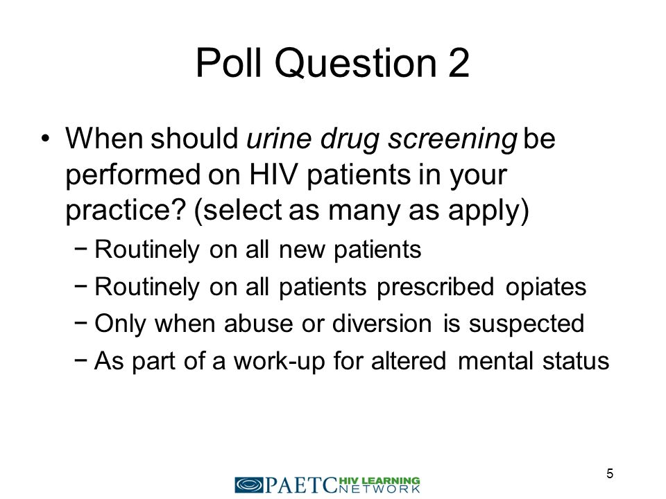 Consequences of Unrecognized and Untreated Substance Use Disorders (SUDs) for HIV Care Poorer engagement in care Less likely to be prescribed antiretroviral therapy Worse adherence More likely to be treated at advanced stages of HIV disease More rapid disease progression More likely to have worse treatment outcomes Risk behavior disinhibition Chitsaz et al.