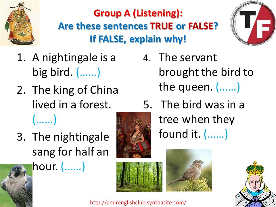 Group A (Listening): Are these sentences TRUE or FALSE? If FALSE, explain why! 1.A nightingale is a big bird. (……) 2.The king of China lived in a fore