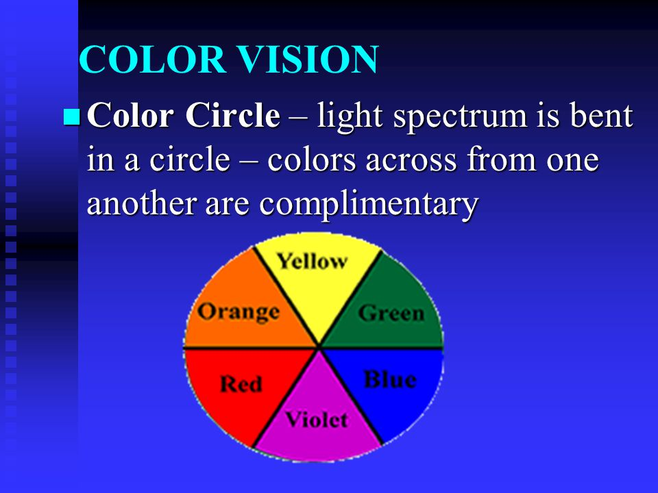 COLOR VISION Color Circle – light spectrum is bent in a circle – colors across from one another are complimentary Color Circle – light spectrum is ben