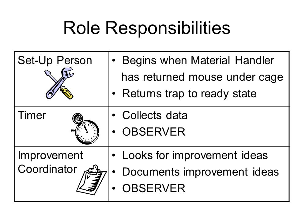 Role Responsibilities Set-Up Person Begins when Material Handler has returned mouse under cage Returns trap to ready state Timer Collects data OBSERVE