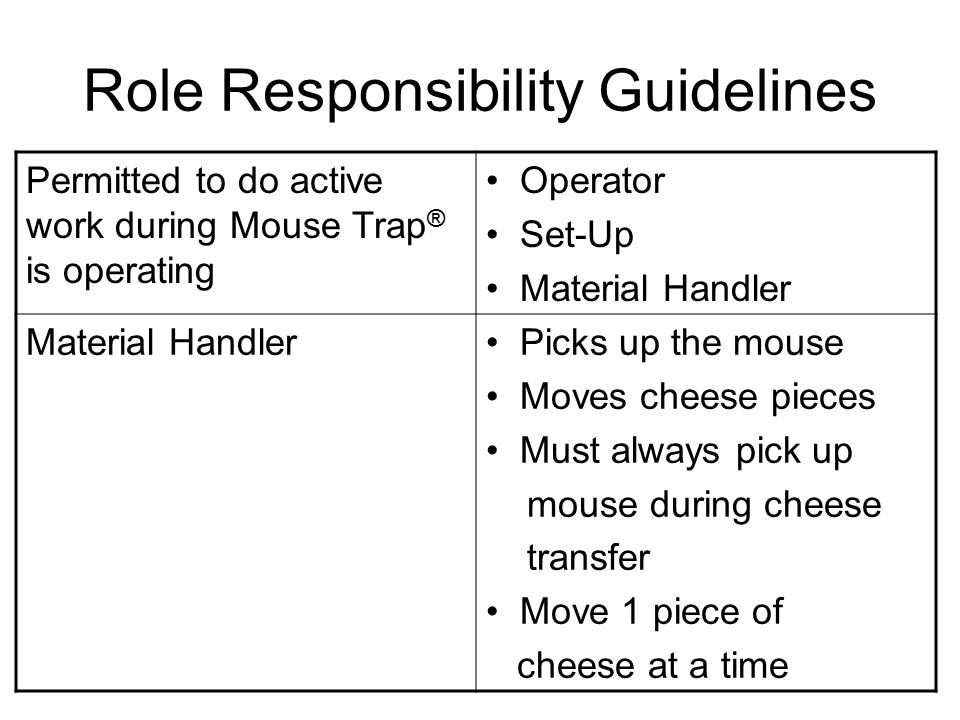 Role Responsibility Guidelines Permitted to do active work during Mouse Trap ® is operating Operator Set-Up Material Handler Picks up the mouse Moves