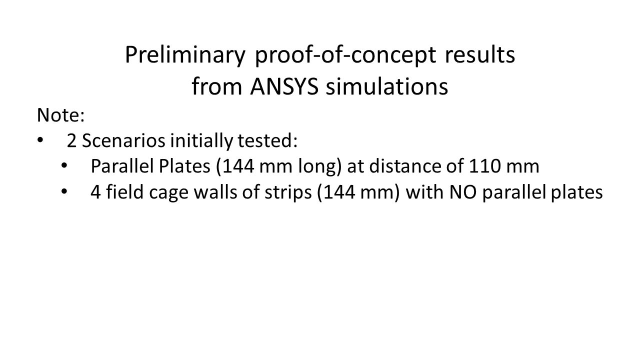 Preliminary proof-of-concept results from ANSYS simulations Note: 2 Scenarios initially tested: Parallel Plates (144 mm long) at distance of 110 mm 4 field cage walls of strips (144 mm) with NO parallel plates