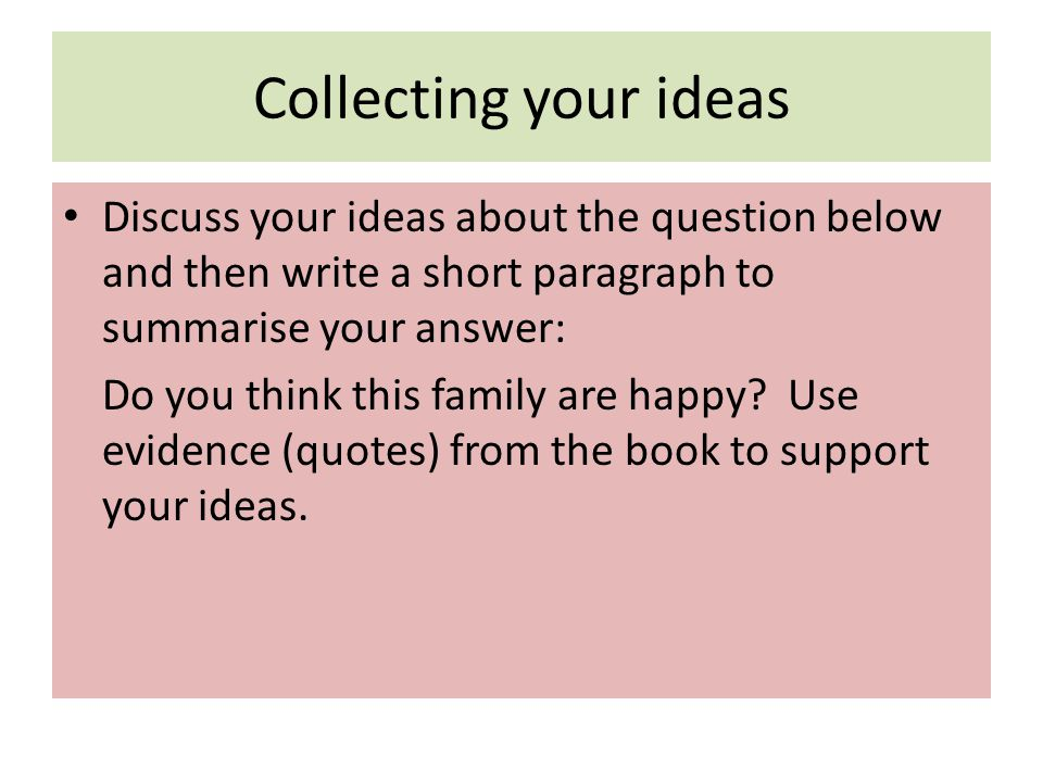 Collecting your ideas Discuss your ideas about the question below and then write a short paragraph to summarise your answer: Do you think this family are happy.