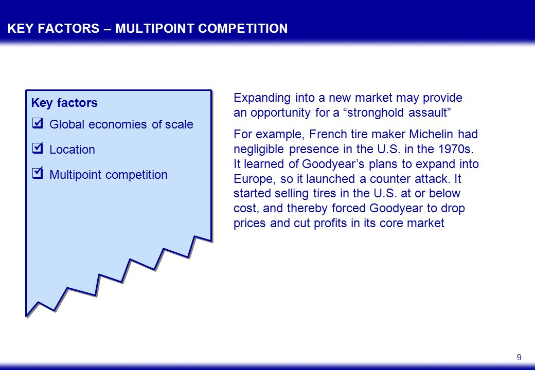 9 KEY FACTORS – MULTIPOINT COMPETITION Key factors  Global economies of scale  Location  Multipoint competition Expanding into a new market may pro
