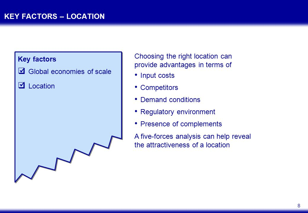 8 KEY FACTORS – LOCATION Key factors  Global economies of scale  Location Input costs Competitors Demand conditions Regulatory environment Presence