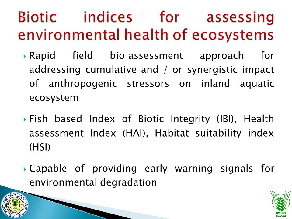  Rapid field bio - assessment approach for addressing cumulative and / or synergistic impact of anthropogenic stressors on inland aquatic ecosystem 