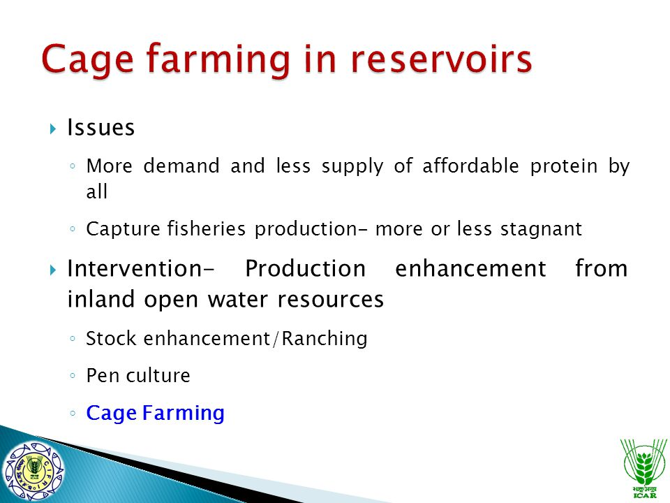  Issues ◦ More demand and less supply of affordable protein by all ◦ Capture fisheries production- more or less stagnant  Intervention- Production enhancement from inland open water resources ◦ Stock enhancement/Ranching ◦ Pen culture ◦ Cage Farming
