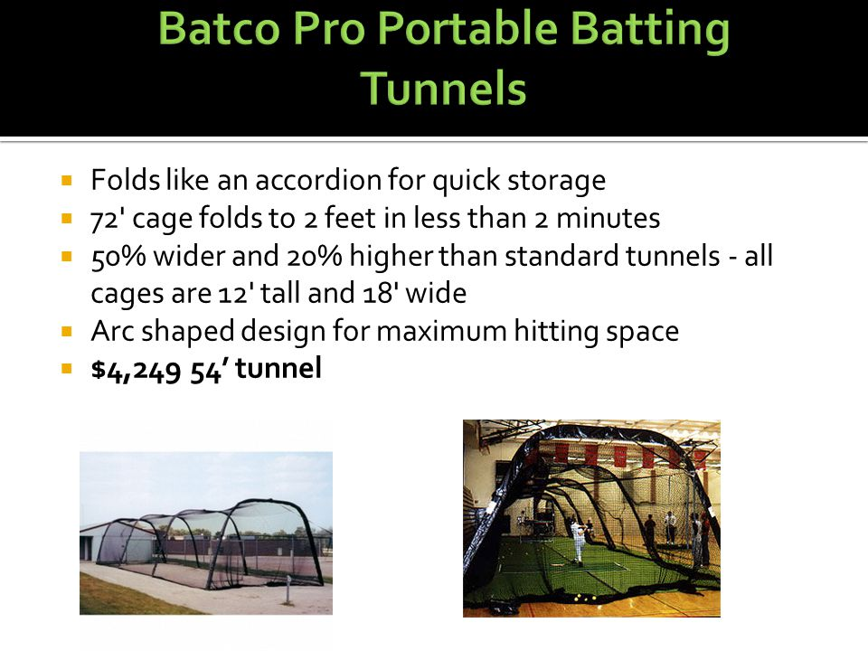  Cartersville has two batting cages with a choice to hit baseballs or softballs at each.