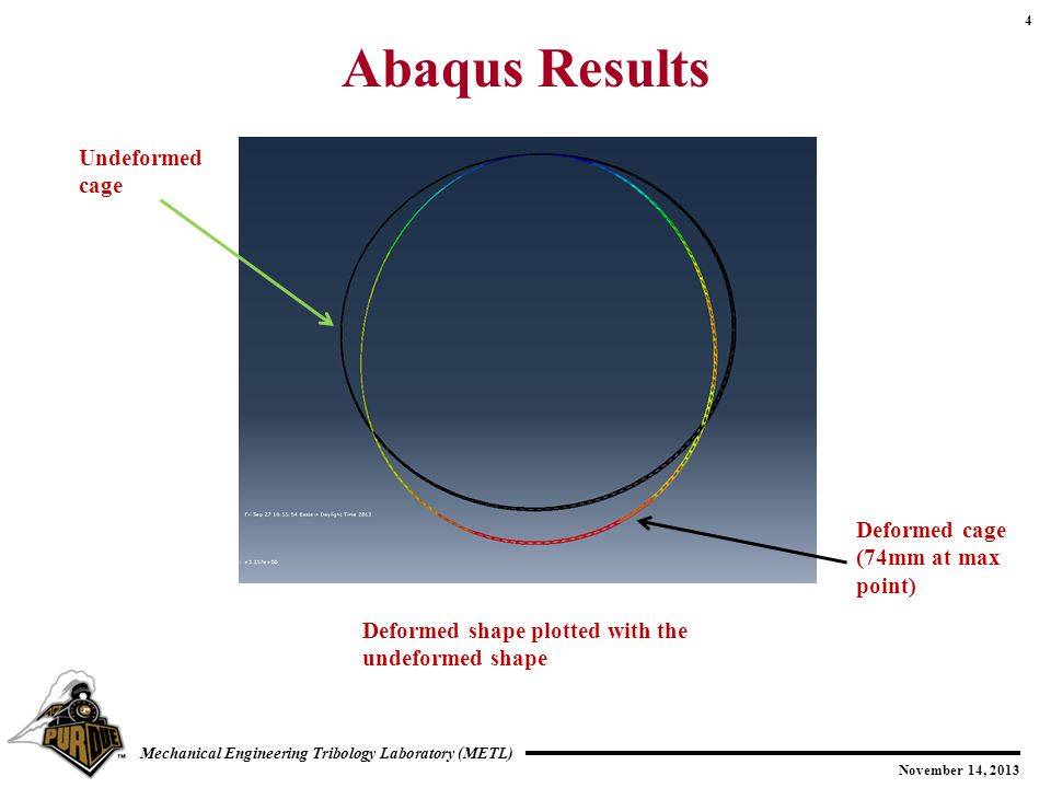 4 November 14, 2013 Mechanical Engineering Tribology Laboratory (METL) Abaqus Results Deformed shape plotted with the undeformed shape Undeformed cage Deformed cage (74mm at max point)