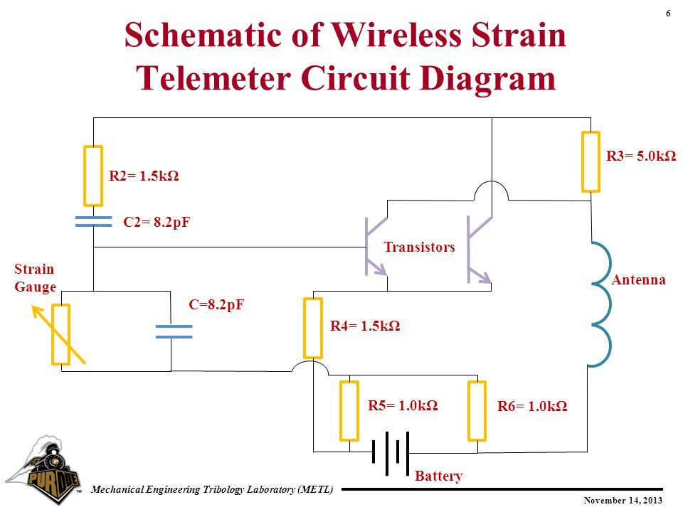 6 November 14, 2013 Mechanical Engineering Tribology Laboratory (METL) Schematic of Wireless Strain Telemeter Circuit Diagram R2= 1.5kΩ C2= 8.2pF Strain Gauge C=8.2pF R4= 1.5kΩ R5= 1.0kΩ R6= 1.0kΩ R3= 5.0kΩ Antenna Transistors Battery