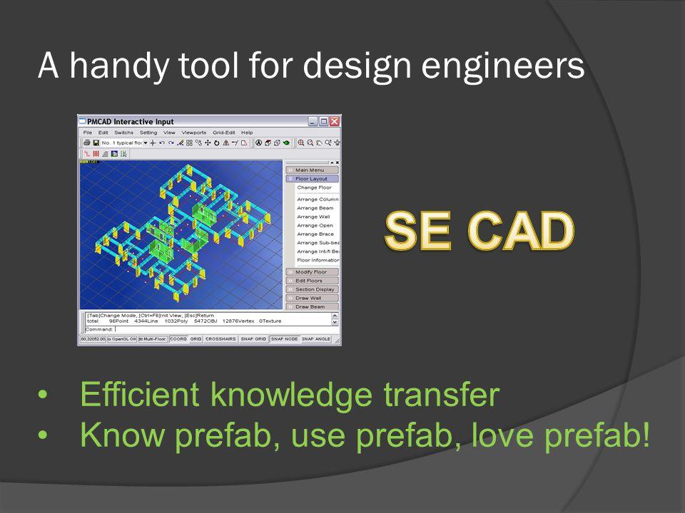 A handy tool for design engineers Efficient knowledge transfer Know prefab, use prefab, love prefab!