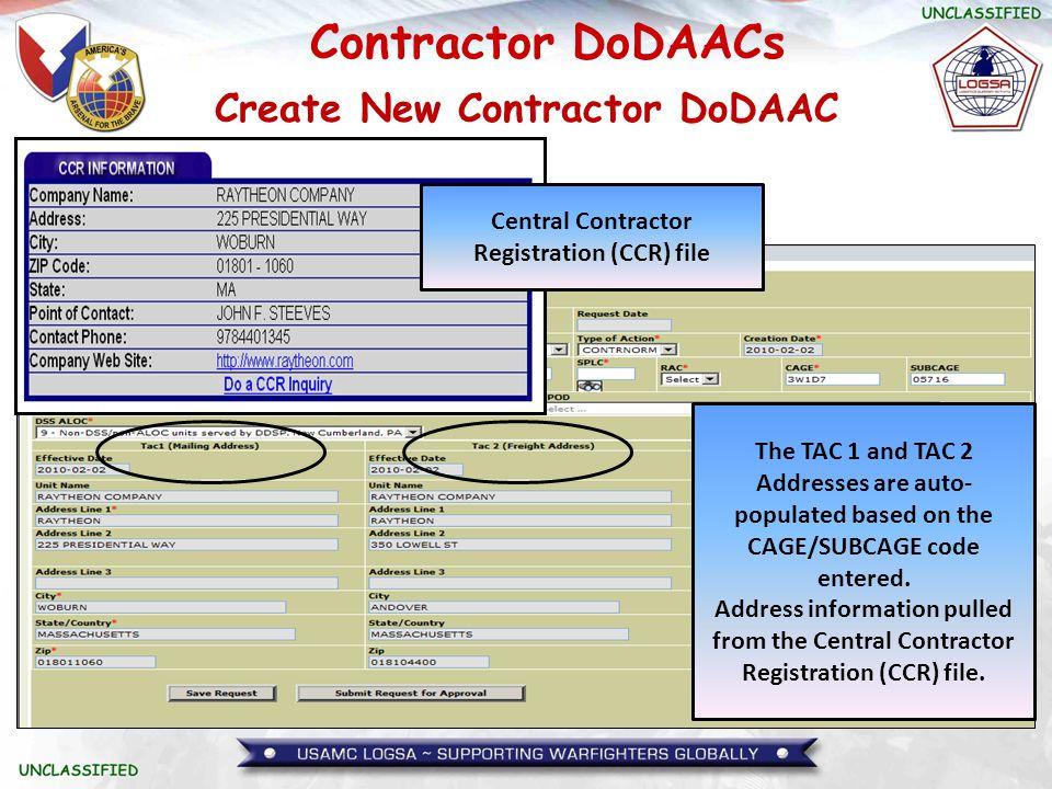 Contractor DoDAACs Request DoDAAC Change