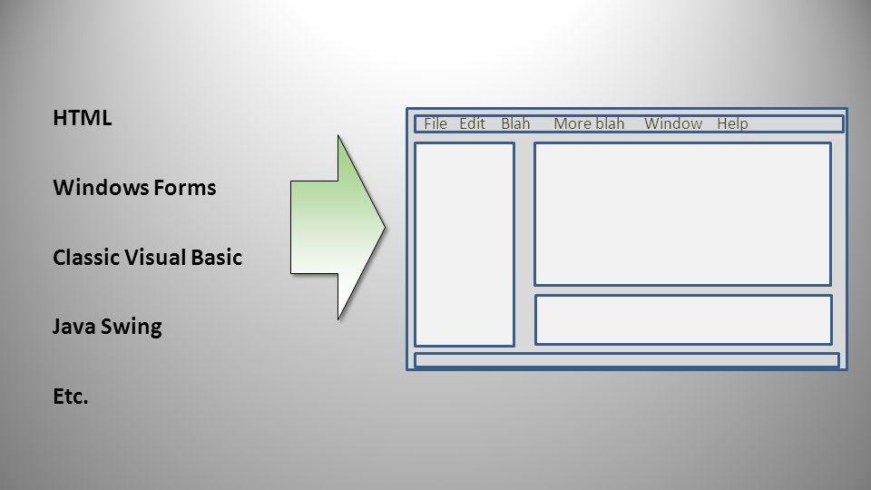 HTML Windows Forms Classic Visual Basic Java Swing Etc. 22 File Edit Blah More blah Window Help