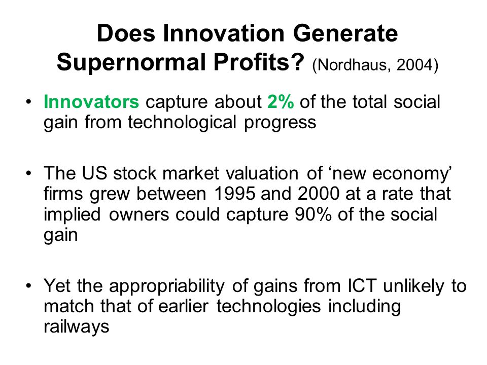 Does Innovation Generate Supernormal Profits.