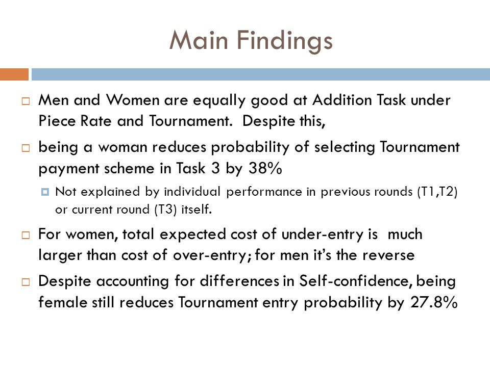 Main Findings  Men and Women are equally good at Addition Task under Piece Rate and Tournament. Despite this,  being a woman reduces probability of